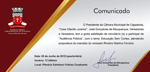 """Câmara de Cajazeiras realiza Audiência Pública com o tema """"Educação sem corte"""""""