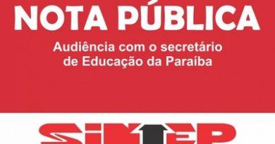 SINTEP – Nota Pública – Audiência com o secretário de Educação do Estado da Paraíba